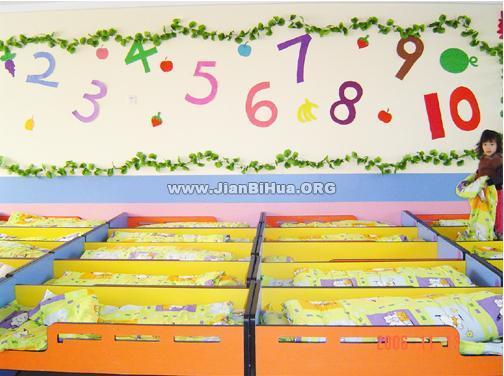 幼儿园睡眠室墙面布置图片大全