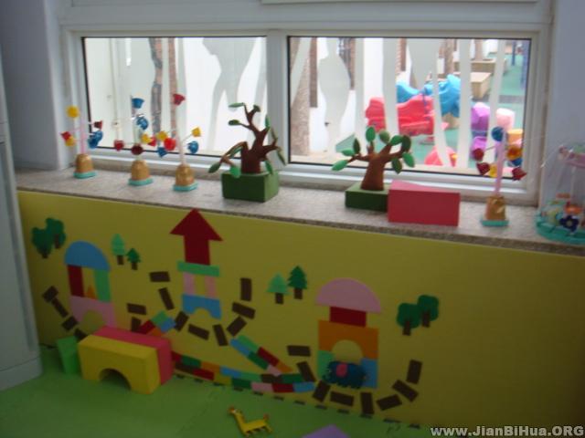 幼儿园中班墙面布置_幼儿园大班墙面布置图片:建筑区布置