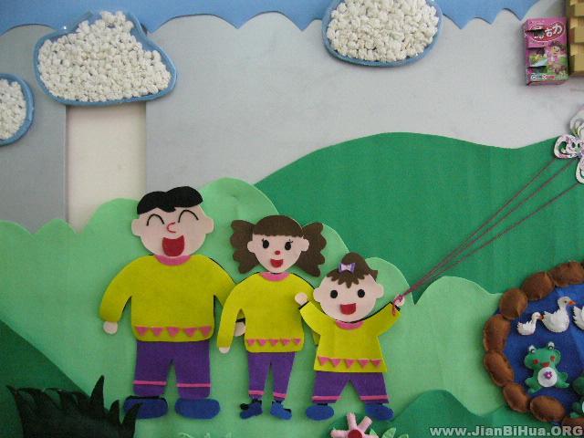 幼儿园墙面设计图片:我和爸爸妈妈一起去郊游