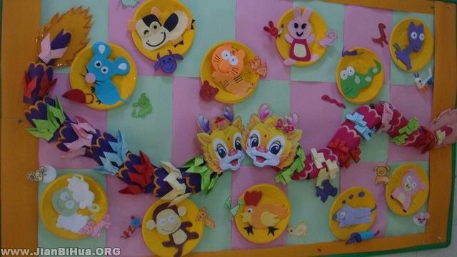幼儿园墙面设计图片 十二生肖