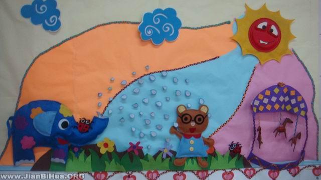 幼儿园墙面设计图片:小熊洗澡