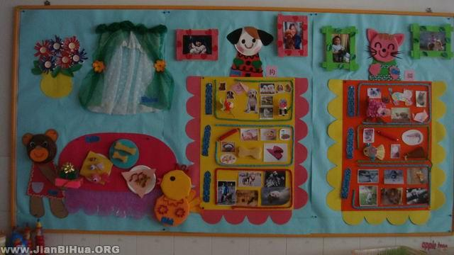幼儿园环境布置墙面:小动物的家; 简笔画 幼儿园环境布置图片; 小动物图片