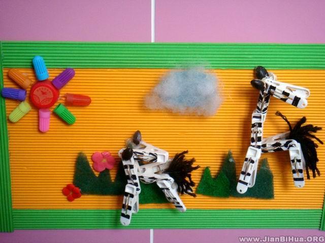 幼儿园墙面设计图片 幼儿作品斑马