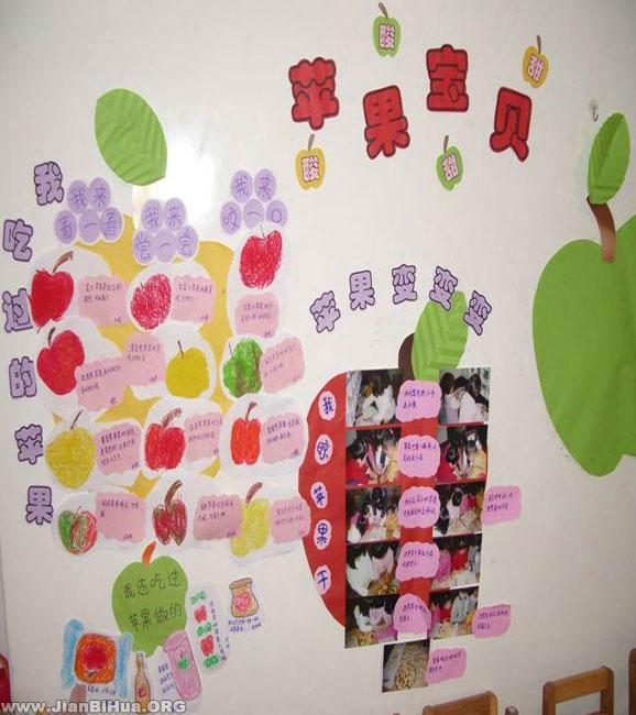 幼儿园大班墙面图片:苹果宝贝图片