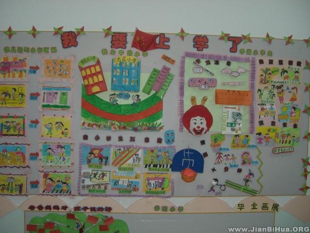 幼儿园墙面设计图片 我要上学了; 幼儿园大班主题墙布置:我要上学了