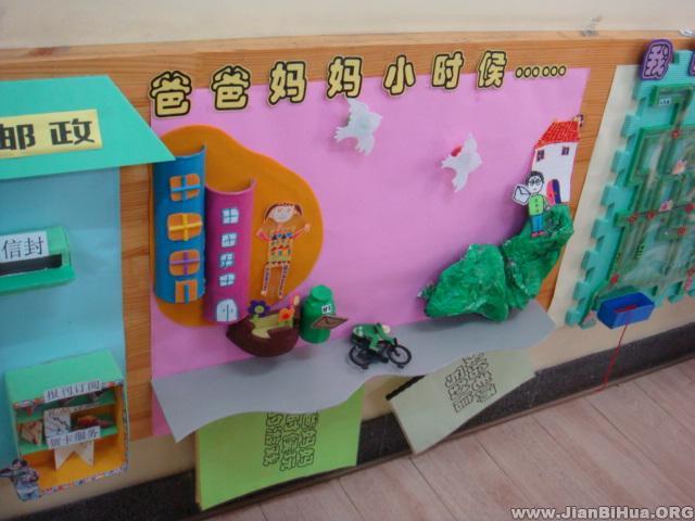 幼儿园墙面设计图片 树和动物