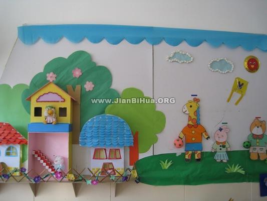 幼儿园墙面设计图片:小动物的家(第2张)