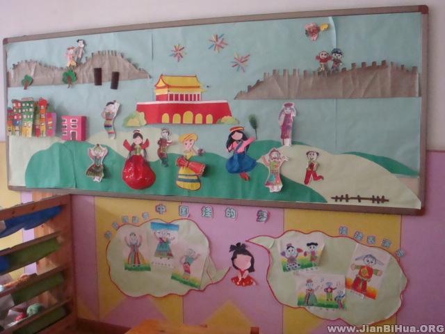 幼儿园中班墙面设计图片:欢庆国庆节