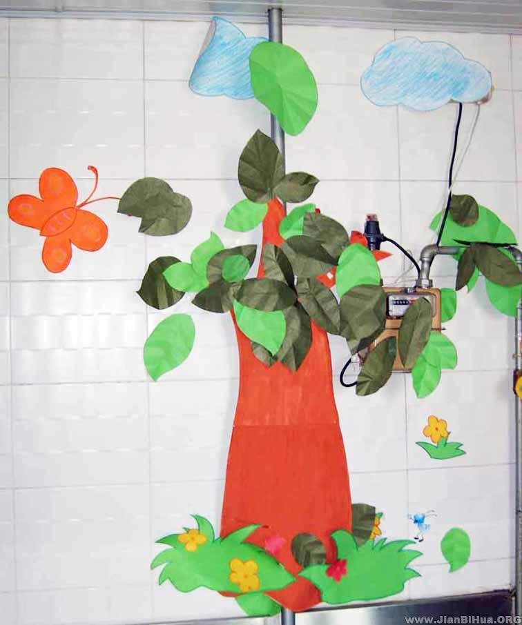 幼儿园墙面布置图片:水管管道装饰图片