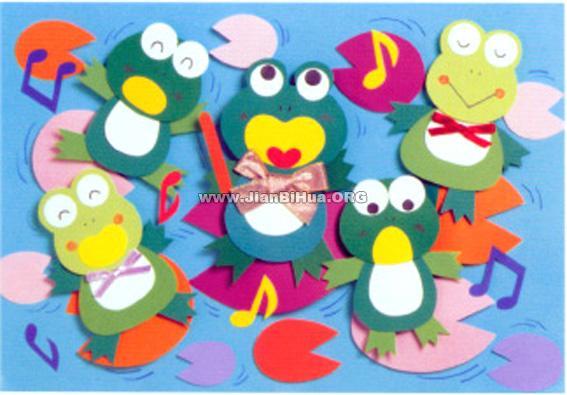 幼儿园中班春天墙面布置图片 青蛙合唱队