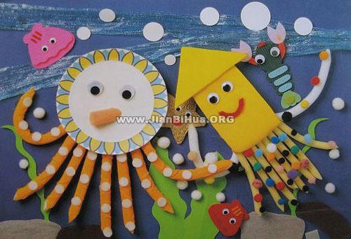 幼儿园墙面设计图片:章鱼和墨斗鱼
