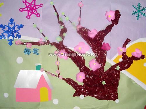 幼儿园大班冬天墙面布置:梅花(第3张)