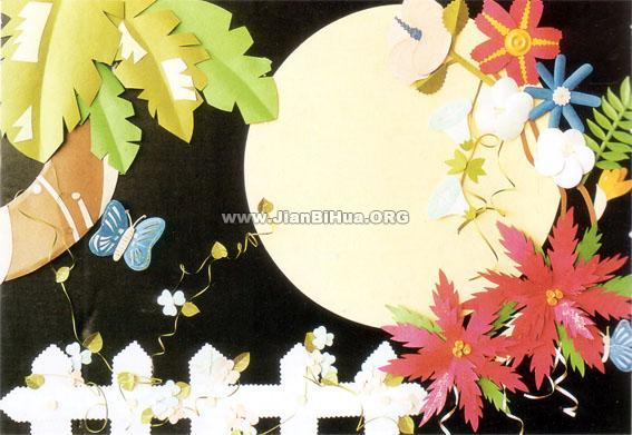 幼儿园中班墙面布置:花好月圆