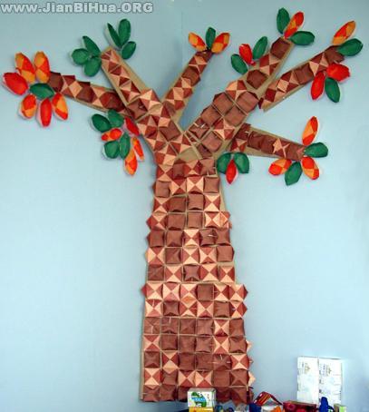 幼儿园环境布置墙面:大树; 幼儿园小班墙面布置图片:大树; 幼儿园墙面