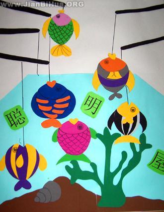 幼儿园小班墙面布置图片:聪明屋
