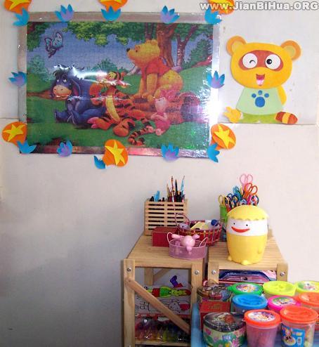 幼儿园墙面设计图片:小熊装饰画