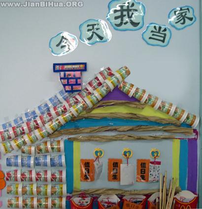 幼儿园大班墙面布置图片 今天我当家