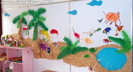 幼儿园墙面设计图片:树和动物