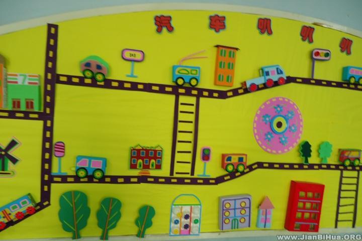 幼儿园中班活动室墙面布置 汽车叭叭 .