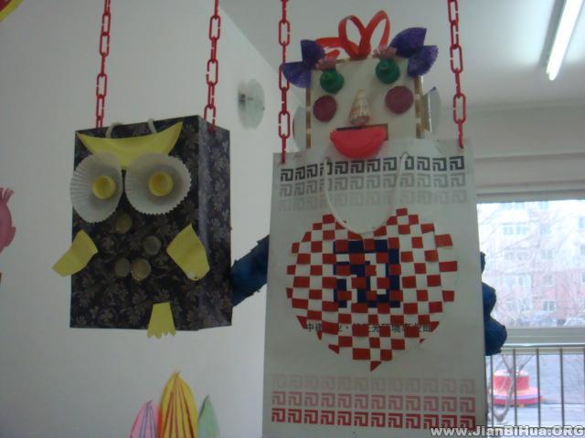 幼儿园吊饰布置图片 自制老鹰吊饰