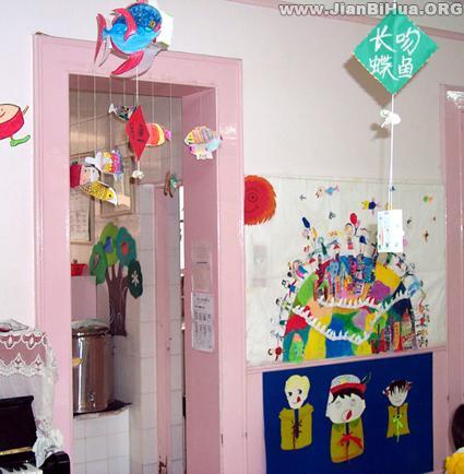 幼儿园盥洗室图片_幼儿园室内吊饰布置图片:小鱼