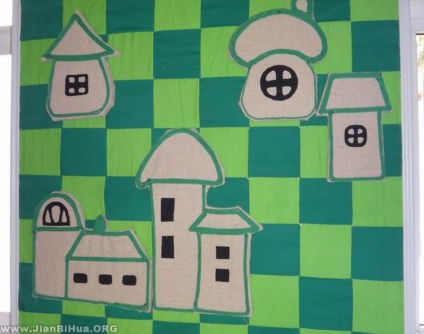 幼儿园楼道墙面布置图片:小房子