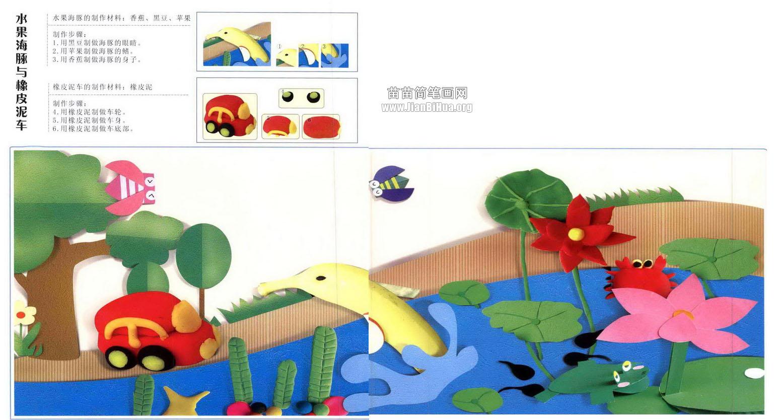 与橡皮泥车   水果海豚的制作材料:香焦