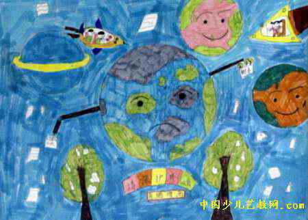 请保护环境儿童画,此幅油画棒画尺寸为322x450像素,作者肖瑞增,来自