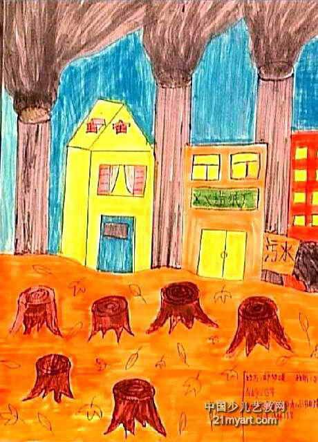 还我绿色儿童画作品欣赏图片