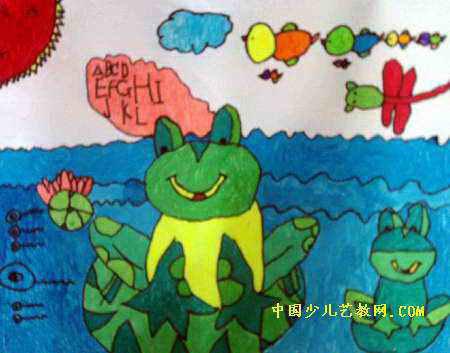 小青蛙学英语儿童画