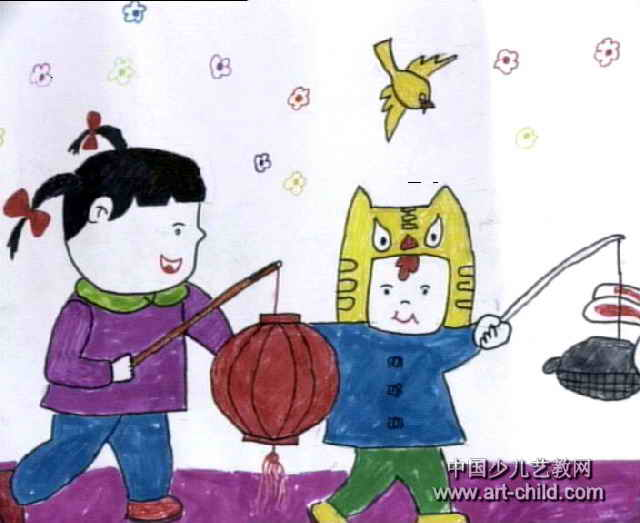 正月十五挂红灯儿童画作品欣赏