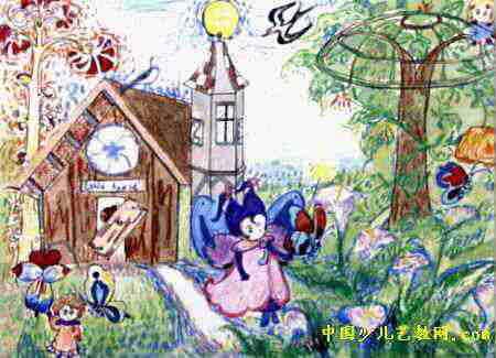 维也纳森林儿童画,此幅水彩画尺寸为325x450像素,作者李卓珺,女,12岁