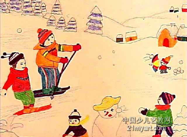 校园趣景儿童画作品欣赏