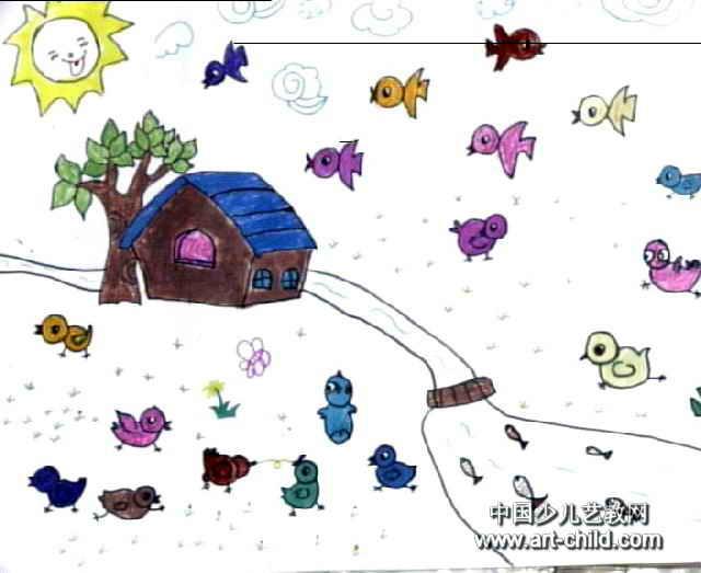 可爱的小鸡儿童画作品欣赏