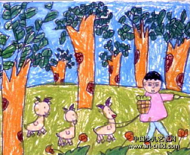 放羊去儿童画作品欣赏