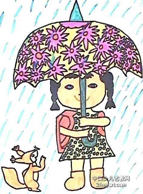 画画下雨了图片_画画大全图片