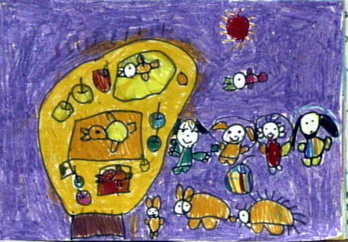 我和小动物儿童画2幅