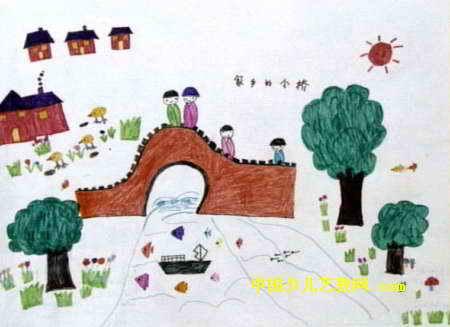 家乡的小桥儿童画属于油画棒画,作品长327px,宽450px,作者吴雨晨,男,5