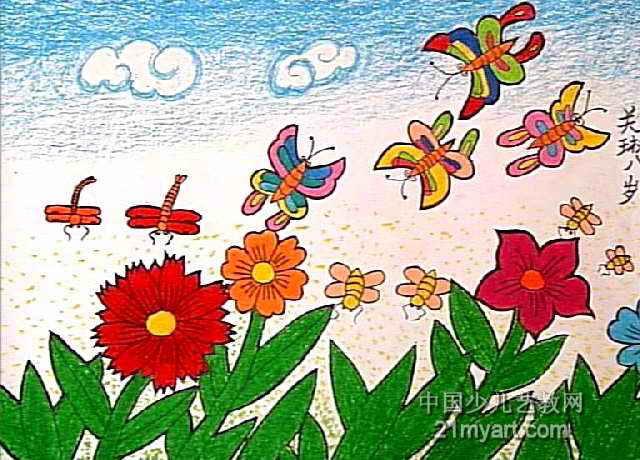 我们的小花园儿童画图片