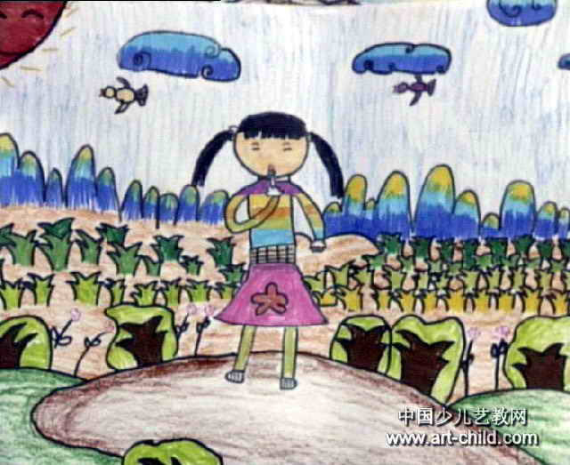 我在唱歌儿童水彩画