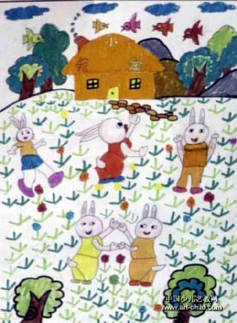 快乐家园儿童画2幅