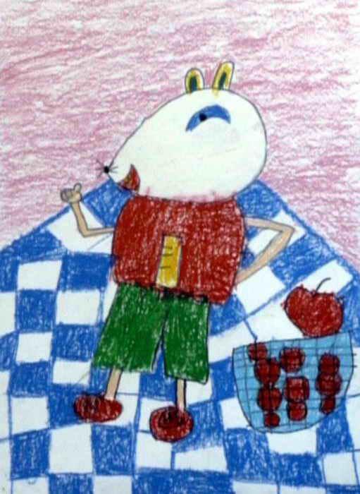 贪吃的小老鼠儿童水彩画