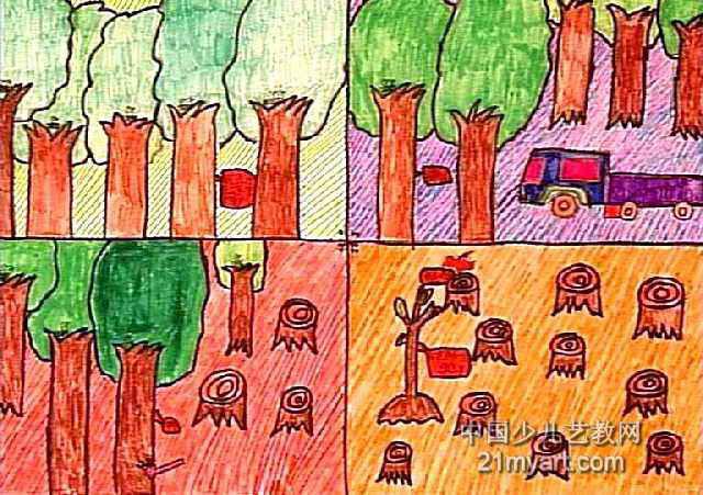 世界多一点绿色儿童画图片图片