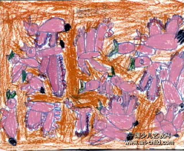 大雁飞来儿童画作品欣赏