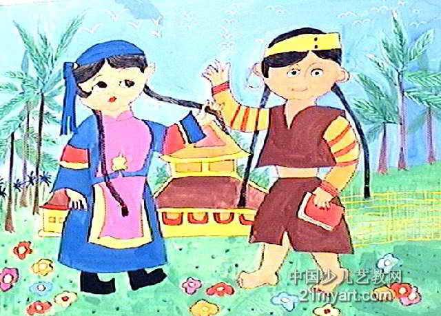 民族团结简单的画儿童【相关词_ 民族团结儿童画】图片