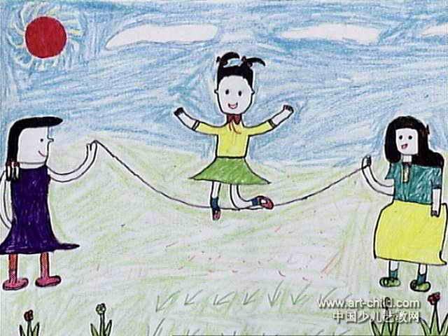 跳绳儿童画10幅 第3张