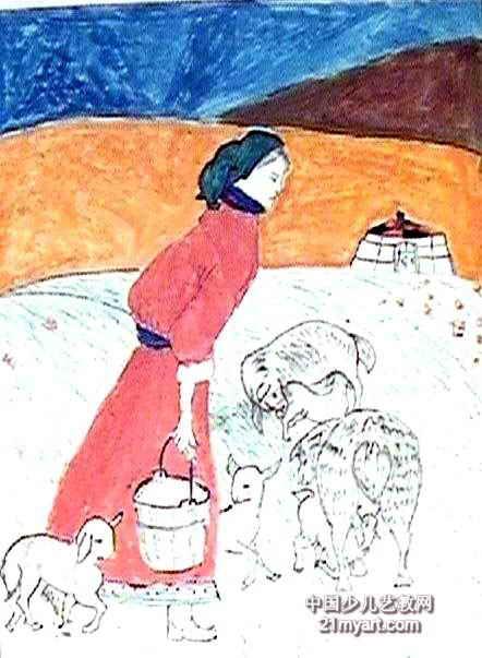 妈妈的爱儿童水彩画