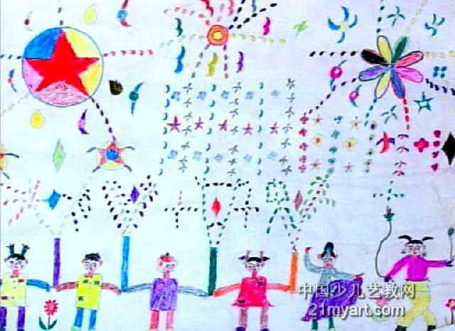 放烟花儿童画,此幅水彩画尺寸为466x640像素,作者黄智炜,男,9岁,来自龙岩地区连城县芷溪中心小学.