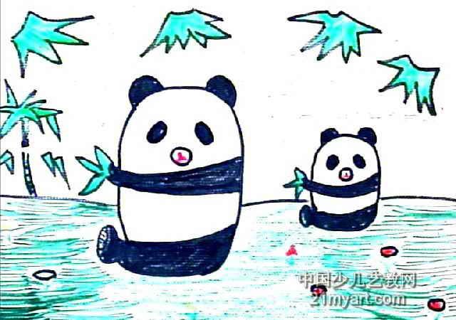 熊猫-珍珍,你好吗儿童画作品欣赏
