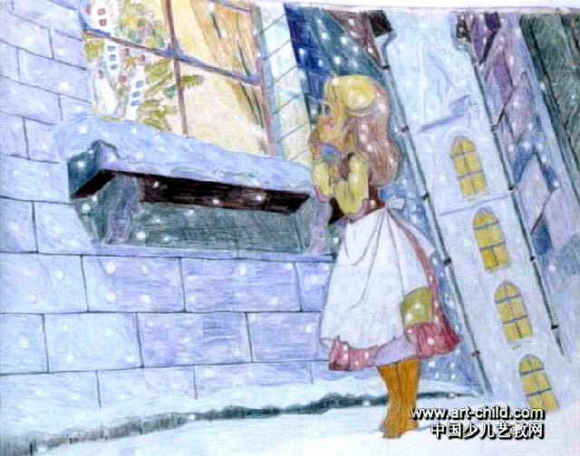 卖火柴的小女孩儿童画作品欣赏